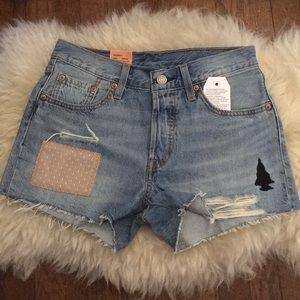 Levi's 501 Patchwork Denim Distressed Shorts